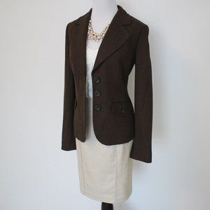 ANN TAYLOR LOFT Size 0 / 2 Skirt Suit Brown Beige